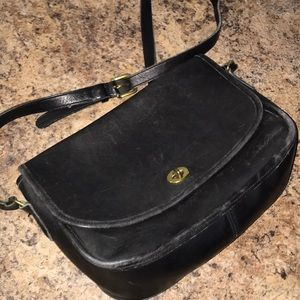 Vintage Coach Black Leather Crossbody with gold